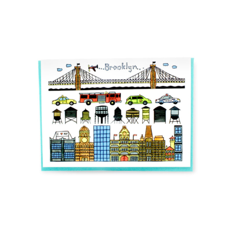 Brooklyn Bridge and downtown greeting card