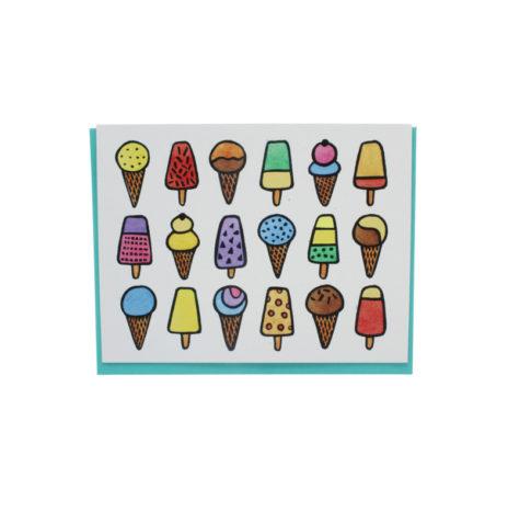Ice cream and ice pop greeting card